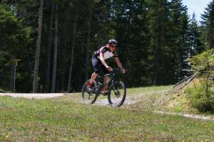 Mountain biking on gravel roads and singletrack